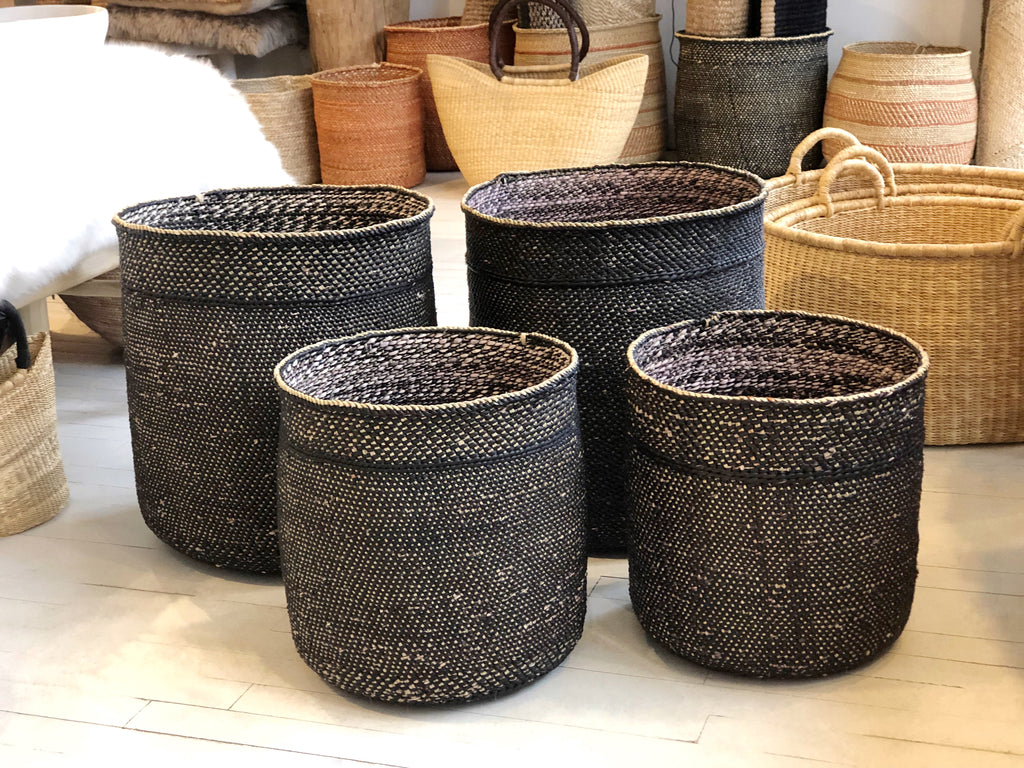 Handwoven Grass Basket Medium Black