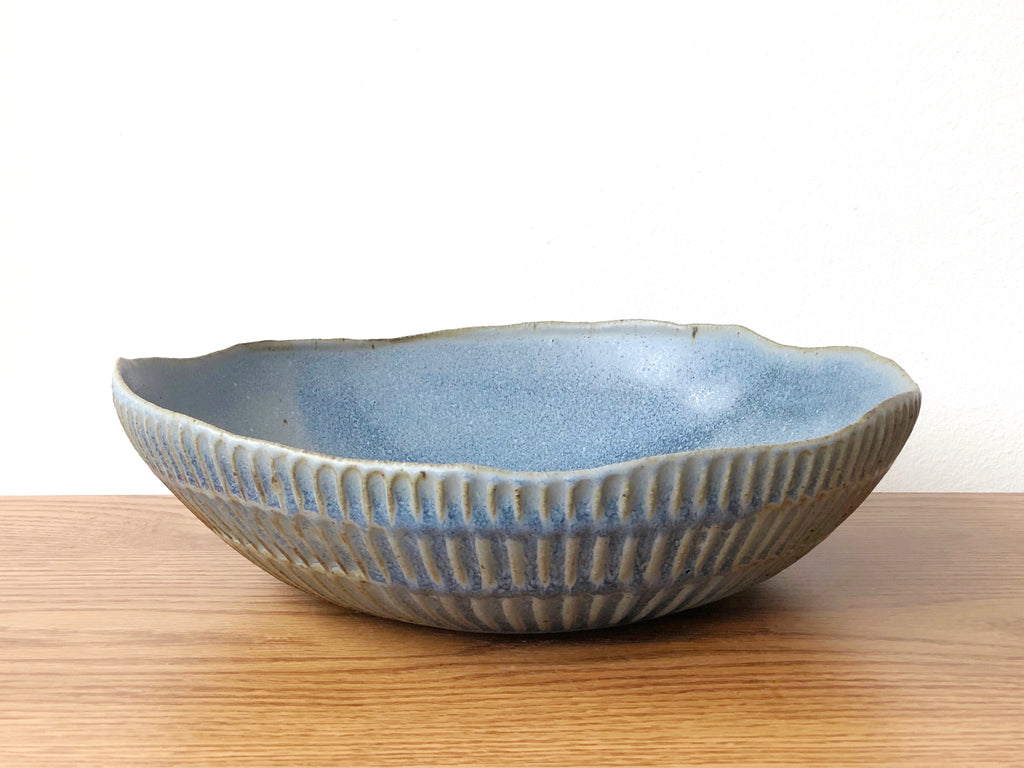 Ceramic Carved Serving Bowl - Blue