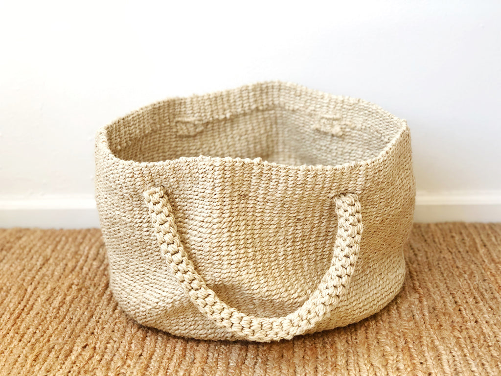Handwoven Jute Basket Natural with Handles
