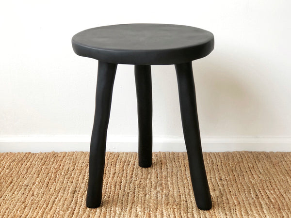 Hand-Sculpted Resin Side Table / Stool Black