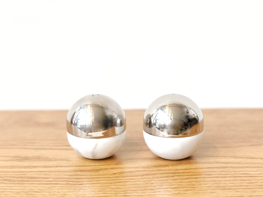 Marble and Steel Salt and Pepper Shakers