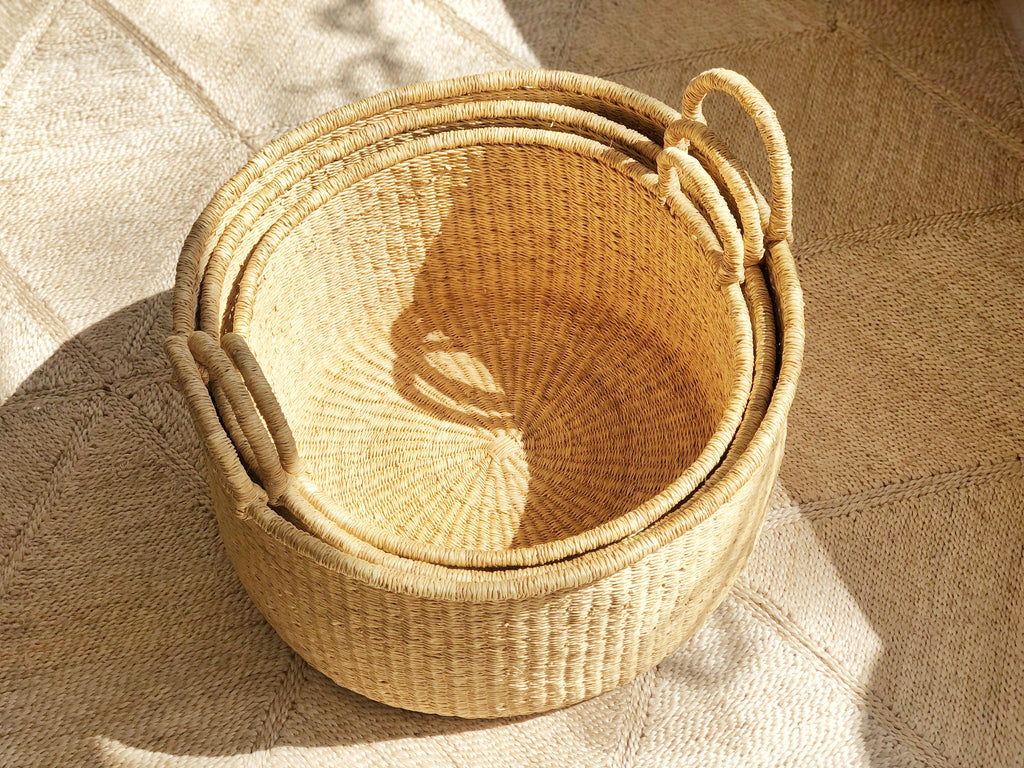 Handwoven Basket with Handles Wide