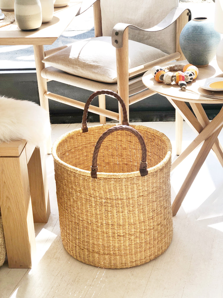 Handwoven Basket with Handles Tall