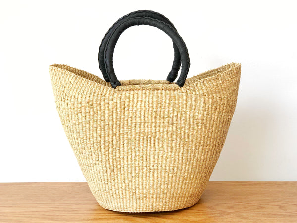 Handwoven Basket Tote with Black Leather Handles