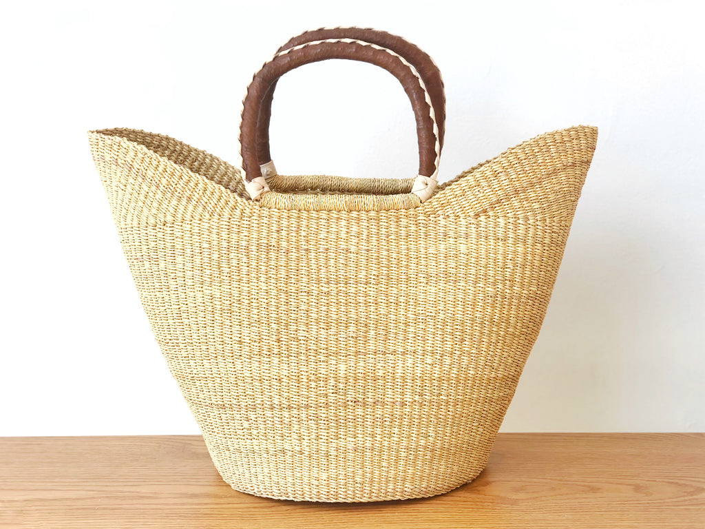 Handwoven Basket Tote with Brown Leather Handles