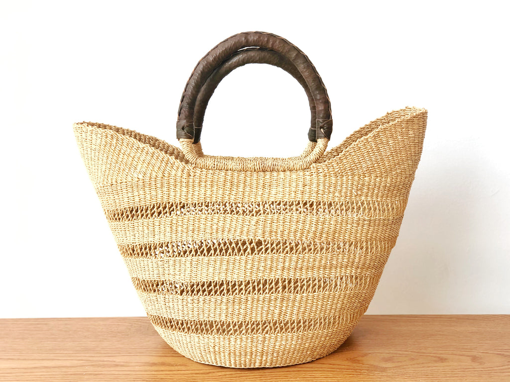 Handwoven Basket Tote Open Weave with Brown Leather Handles