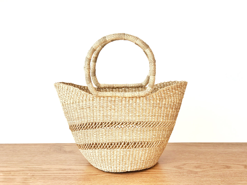 Handwoven Basket Tote Mini Open Weave