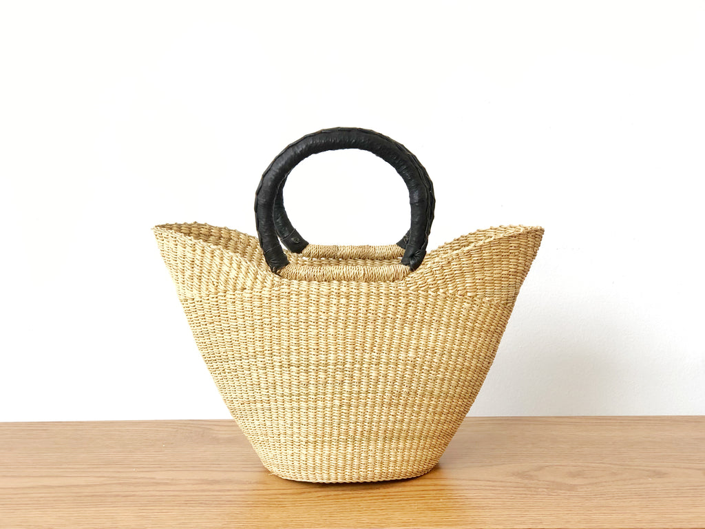 Handwoven Basket Tote Mini with Black Leather Handles