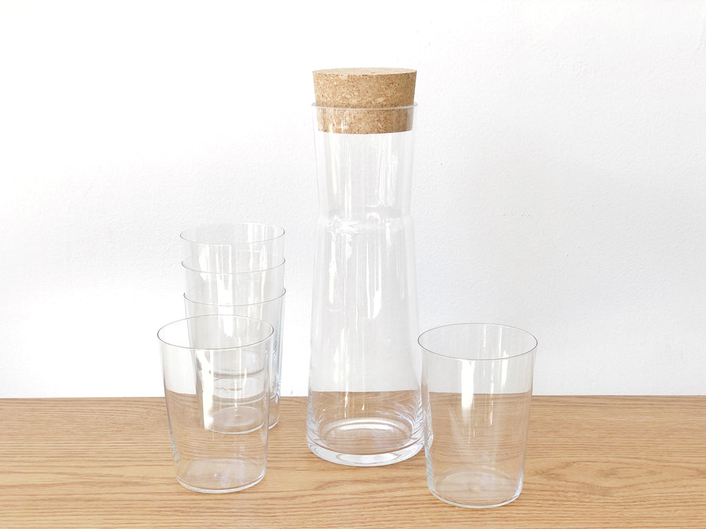 Handblown Glass Carafe with Cork Top