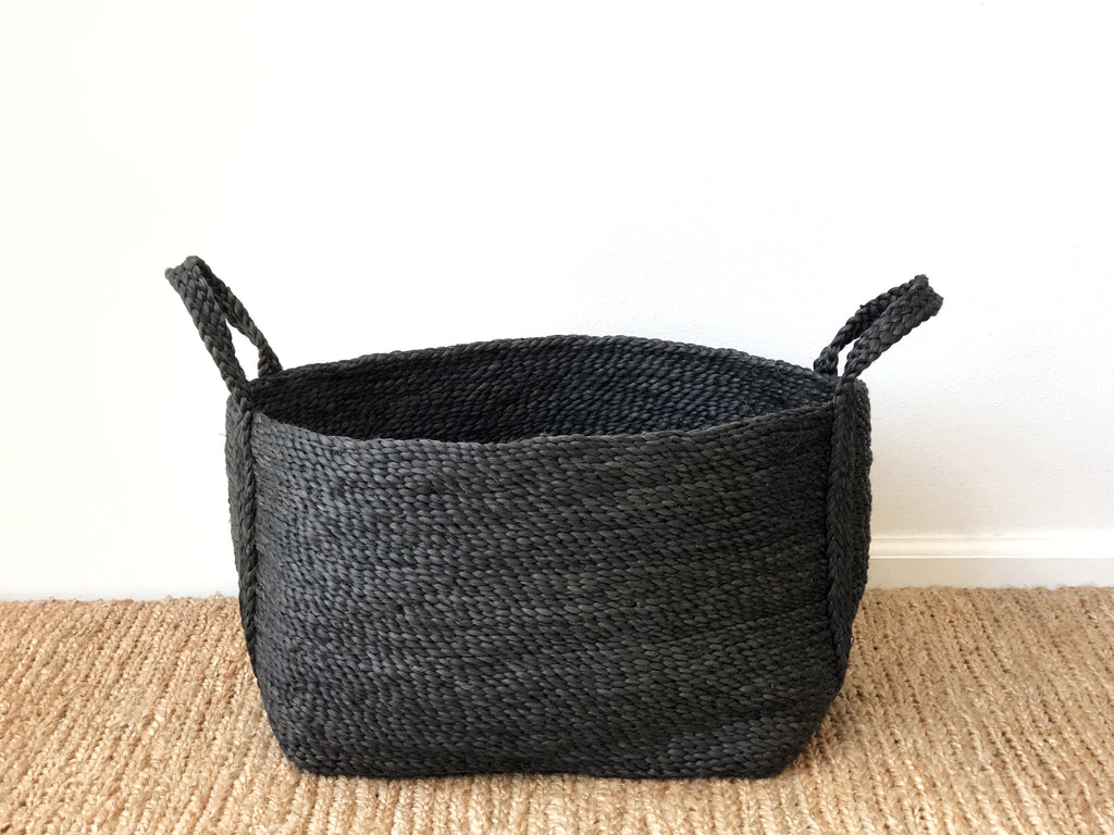 Handwoven Jute Basket Charcoal Small