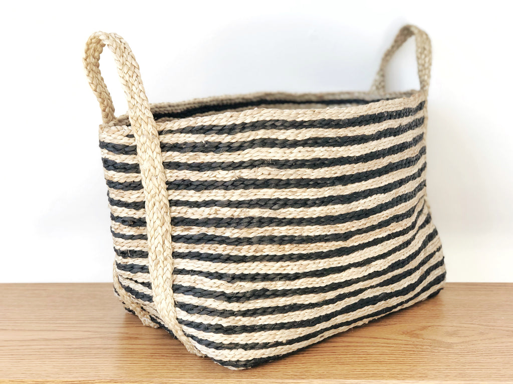 Handwoven Striped Jute Basket Small