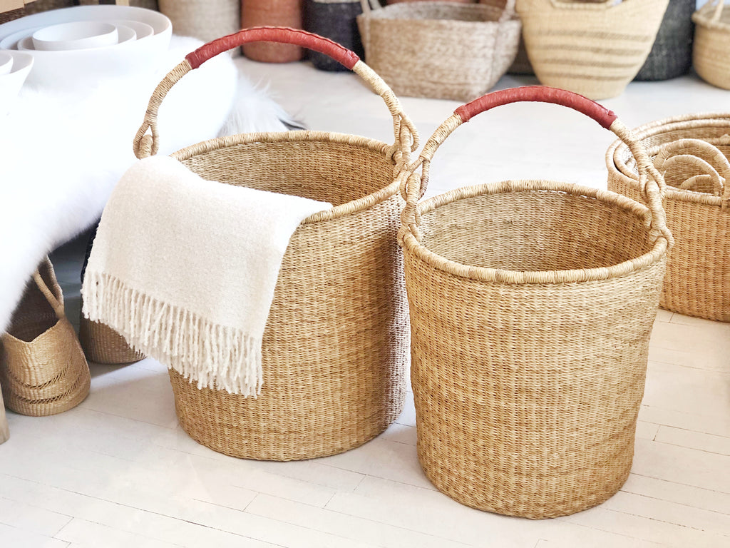 Handwoven Basket with Handle Extra Large