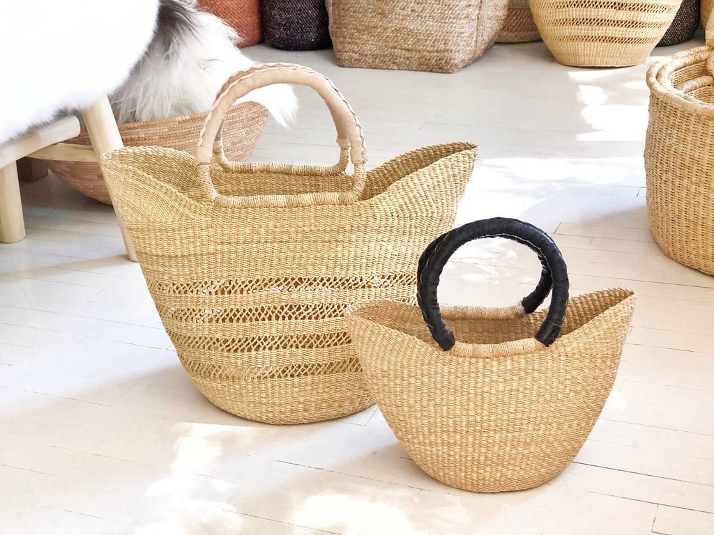 Handwoven Basket Tote Open Weave with Natural Leather Handles