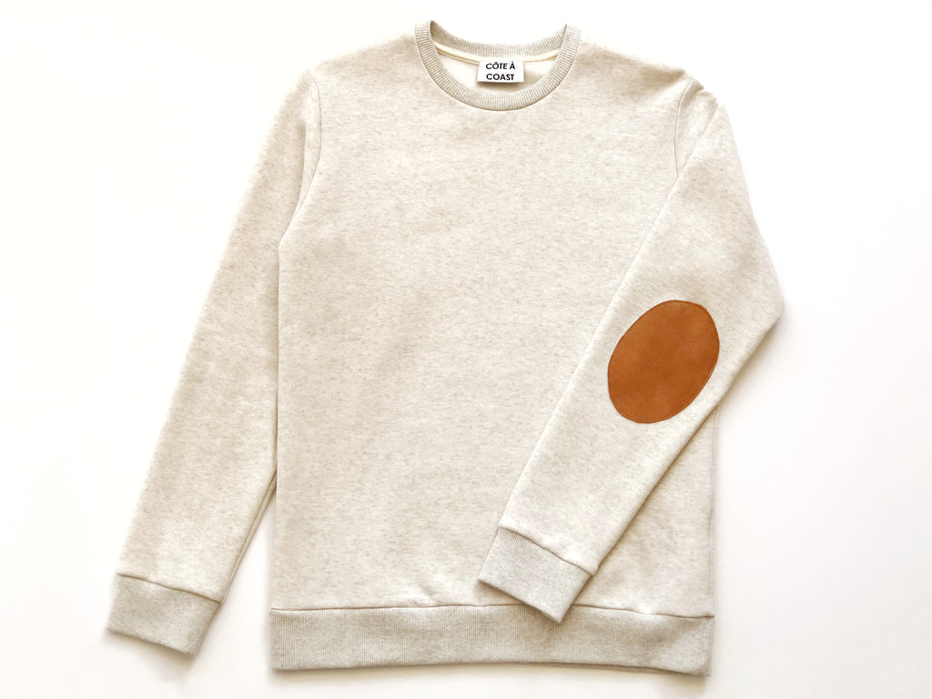 Oatmeal Cotton Sweatshirt with Suede Elbow Patches