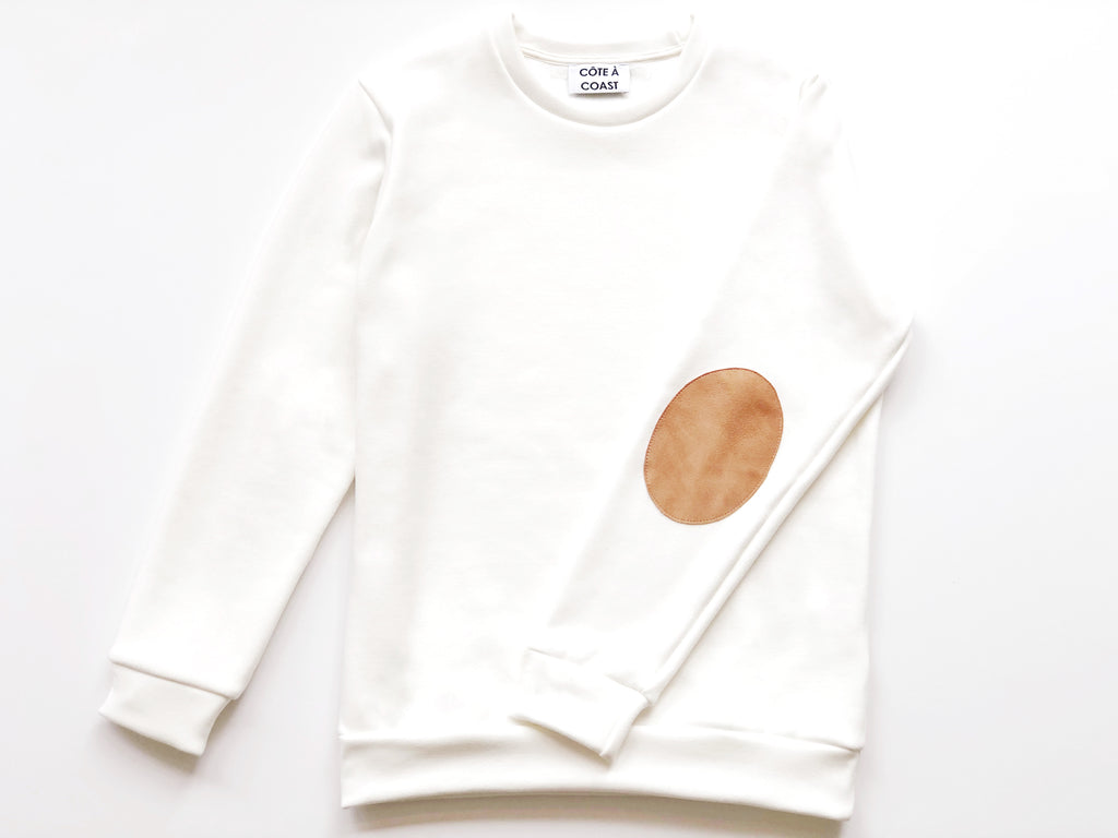 White Sweatshirt with Suede Elbow Patches