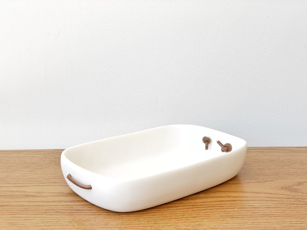 Hand-Sculpted Resin Small Tray with Leather Handles