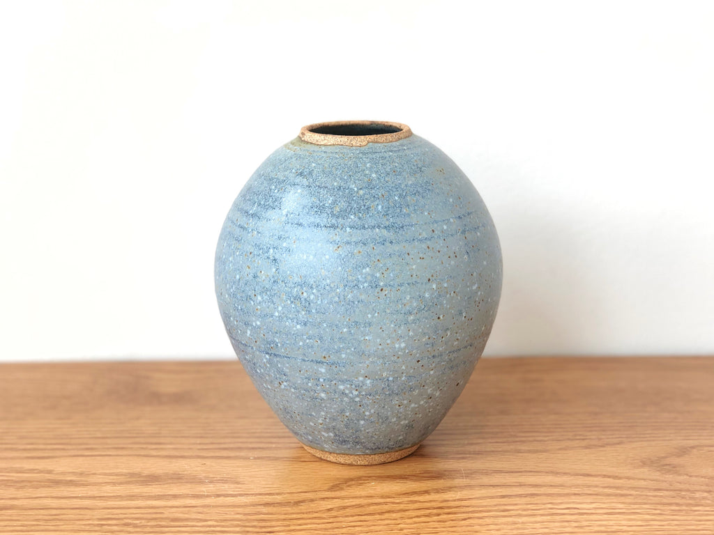 Speckled Blue Ceramic Vase
