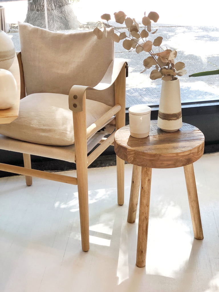 Wood Stool / Side Table - Round