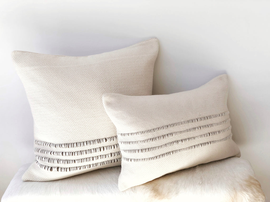 Handwoven Striped Merino Pillow - Small