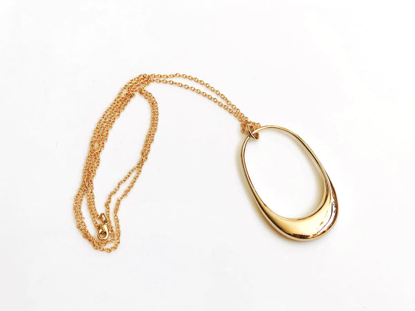 Gold Plated Brass Oval Necklace