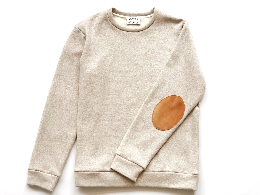 Oatmeal Sweatshirt with Suede Elbow Patches