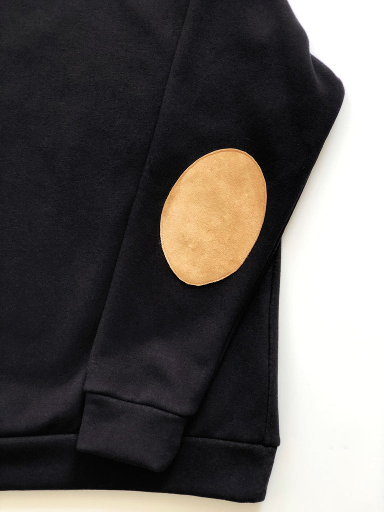 Black Sweatshirt with Suede Elbow Patches