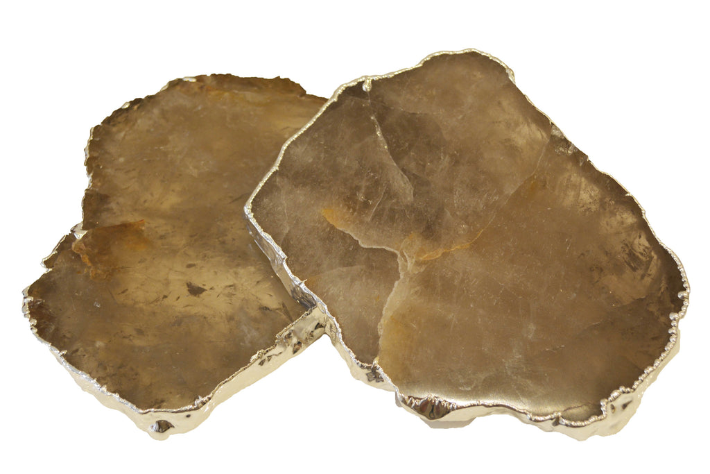 Smoky Quartz \ Silver Coasters