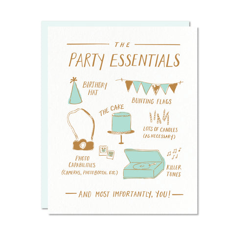 Party Essentials card