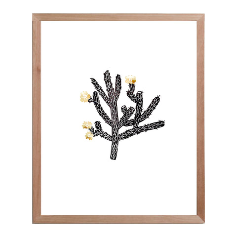 Cholla Cactus print - black & gold