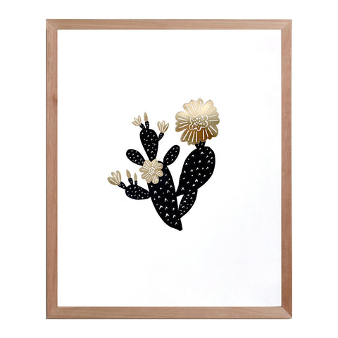 Prickly Pear Cactus print - black & gold