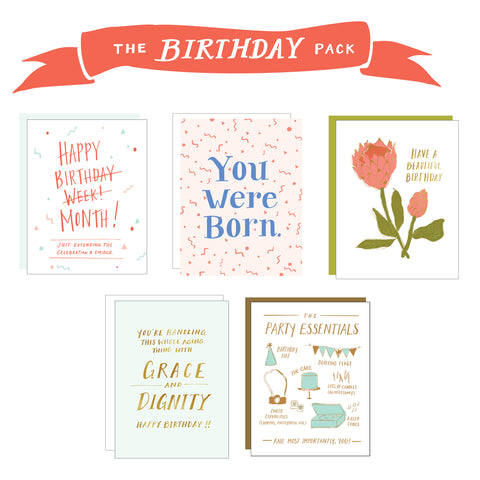 Images of 5 birthday cards and a banner