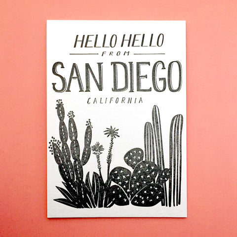 Hello Hello from San Diego postcard