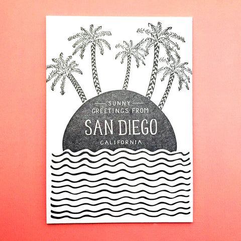 Greetings from sunny San Diego postcard