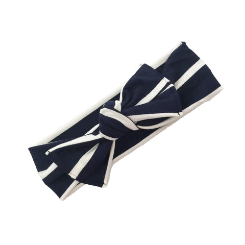Navy and white striped head wrap