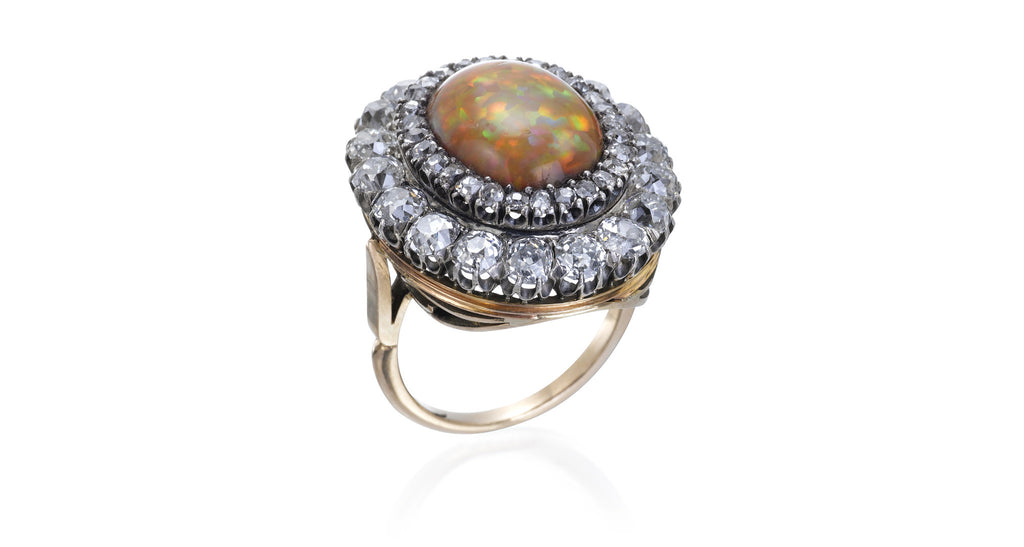 8a0de103c6b692 BACK TO ALL Jewelry   Rings. Antique Opal & Diamond Cluster ...