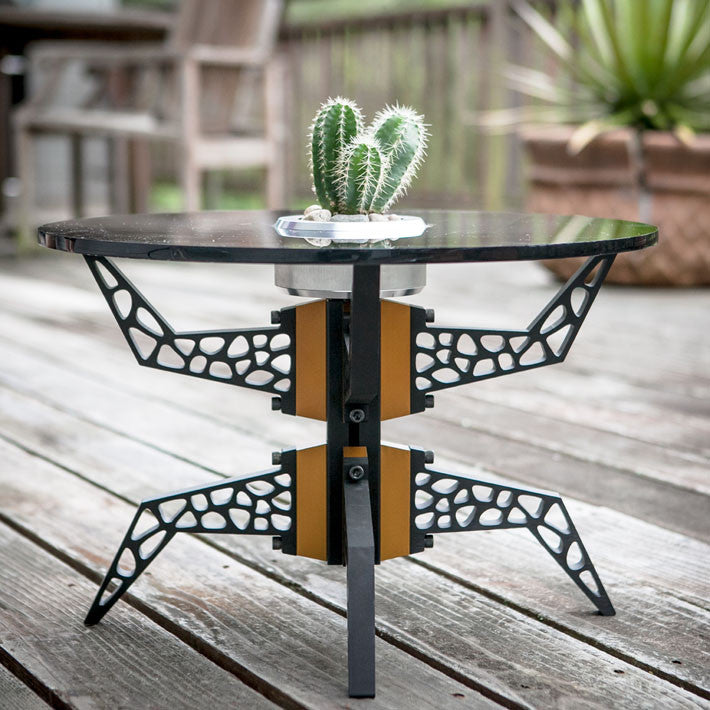 Black Gira Table with Gold Spacers and Planter Table Top