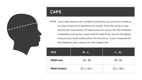 DUDE Clothing Cap/Hat sizing guide