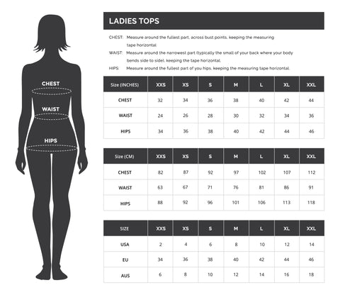 DUDE Clothing Ladies Tops sizing guide