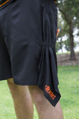 An image showing Dude Tech Caddie Shorts in black color with Integrated towel attachment system.