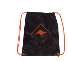 An image showing a Drawstring Black bag with printed Dude logo in orange.