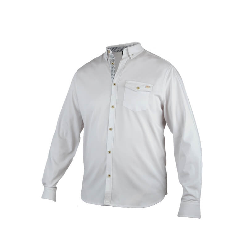 An image showing Dude Woven Shirt from Dude, long sleeves color white