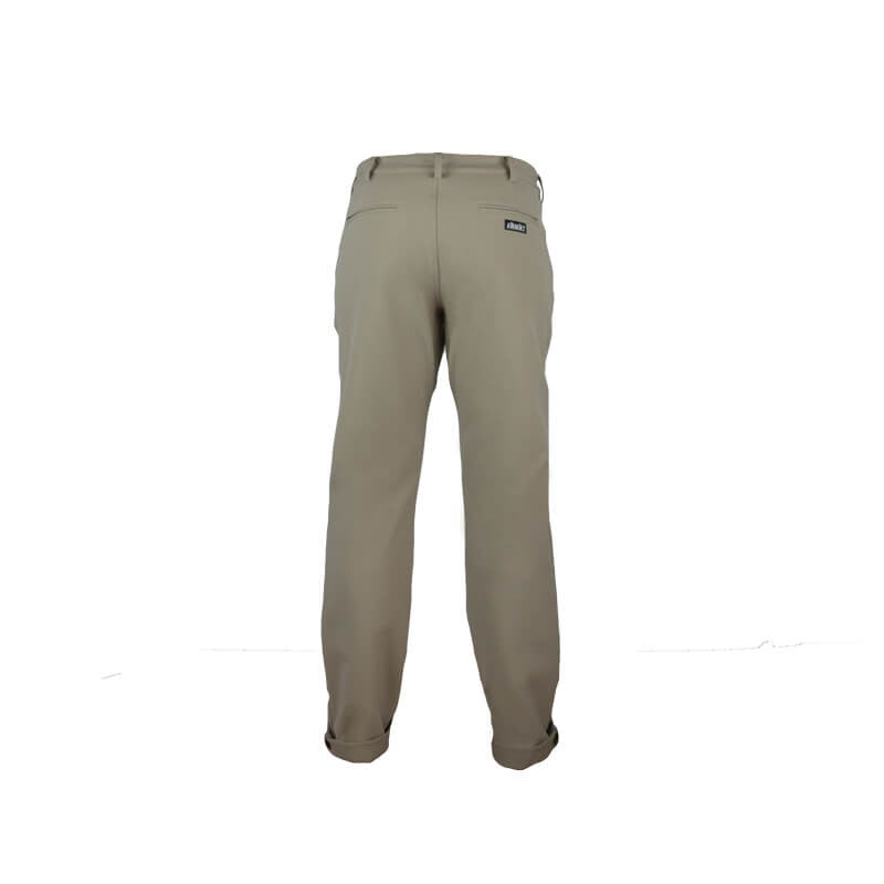 An back image  of  Dude Mens Disc Dacs in khaki color Reflective taping on inside hem of pant
