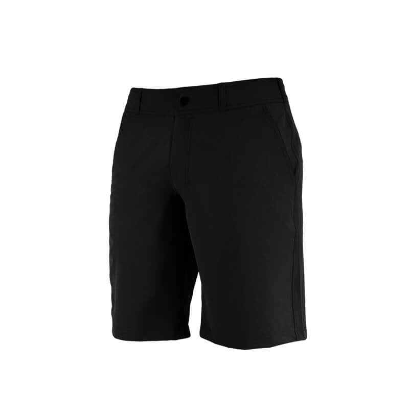 "An image showing  Dude Pro Shorts 21"" outleg in black  color with Quick dry and  breathable fabric"