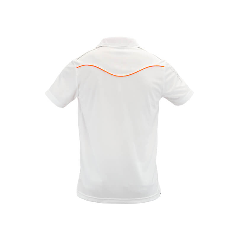 An image showing Arden polo back, Golf clothe for men. White Orange color