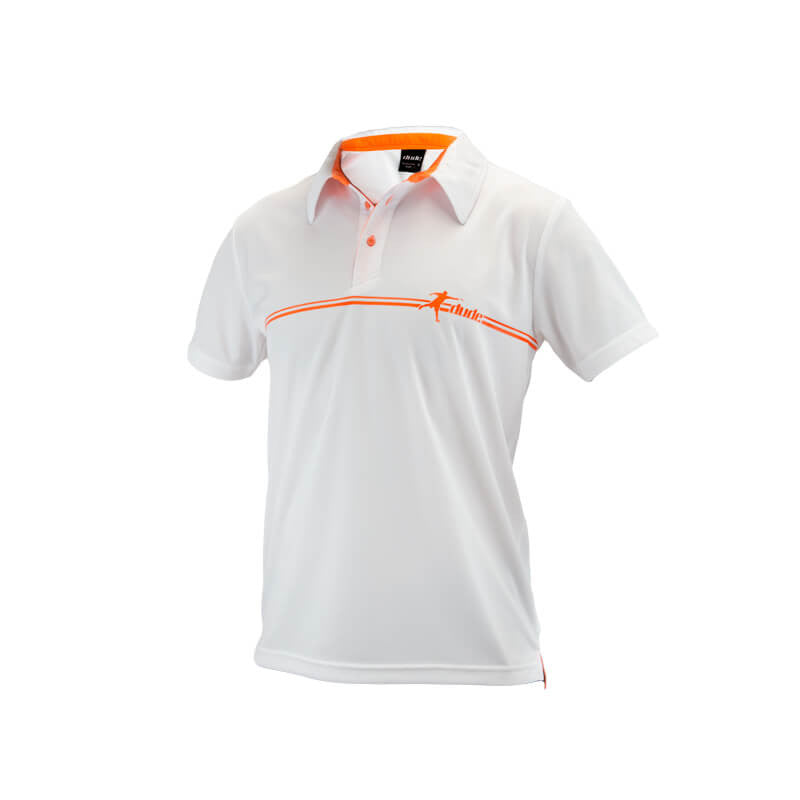 An image showing Arden Polo, Golf clothe for men.  White Orange color