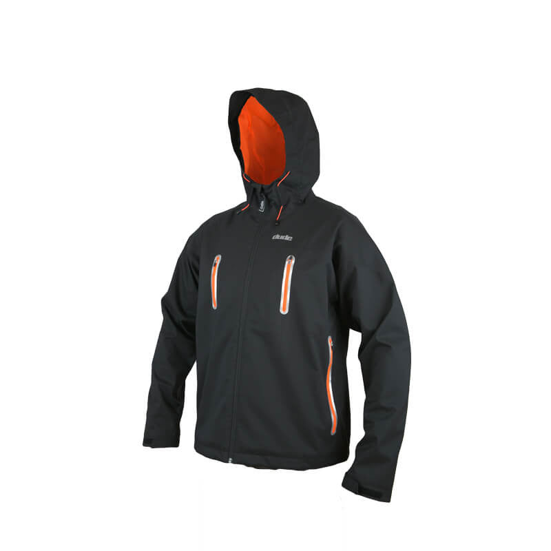 An image showing Dude Tech Caddy Jacket in black with Elasticated hood pull tie with stiffened peak