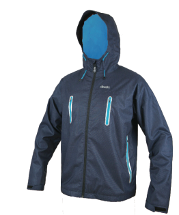 An image showing Dude Tech Caddy Jacket in navy with Elasticated hood pull tie with stiffened peak