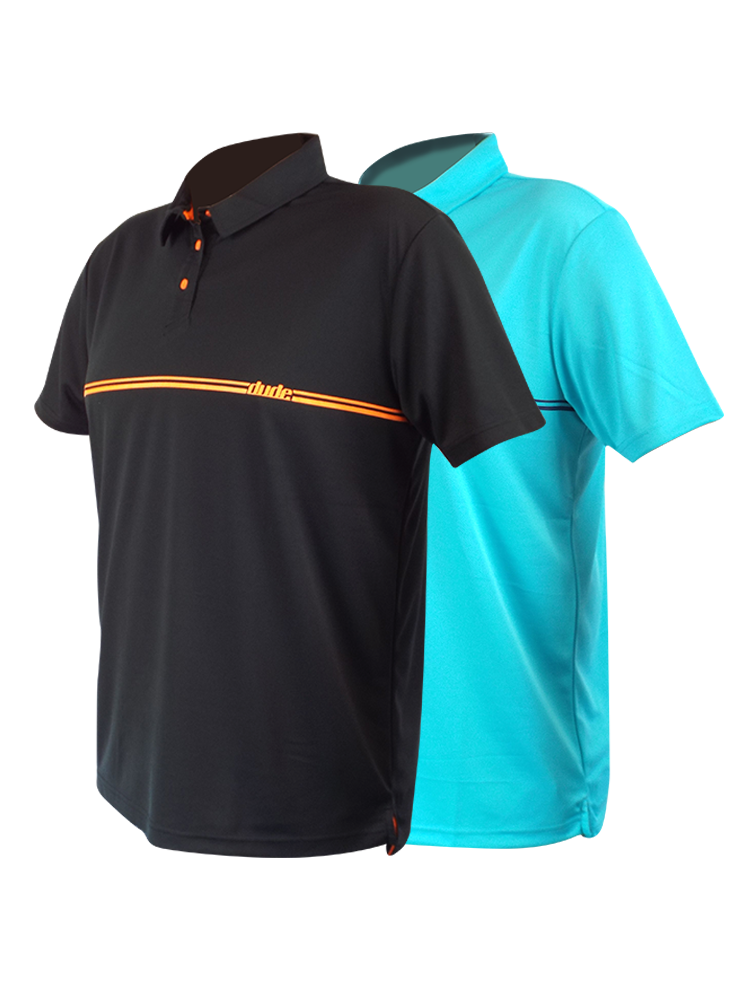 An image showing Barsby Polo color black and Aqua blue. The best Disc golf polo shirts.