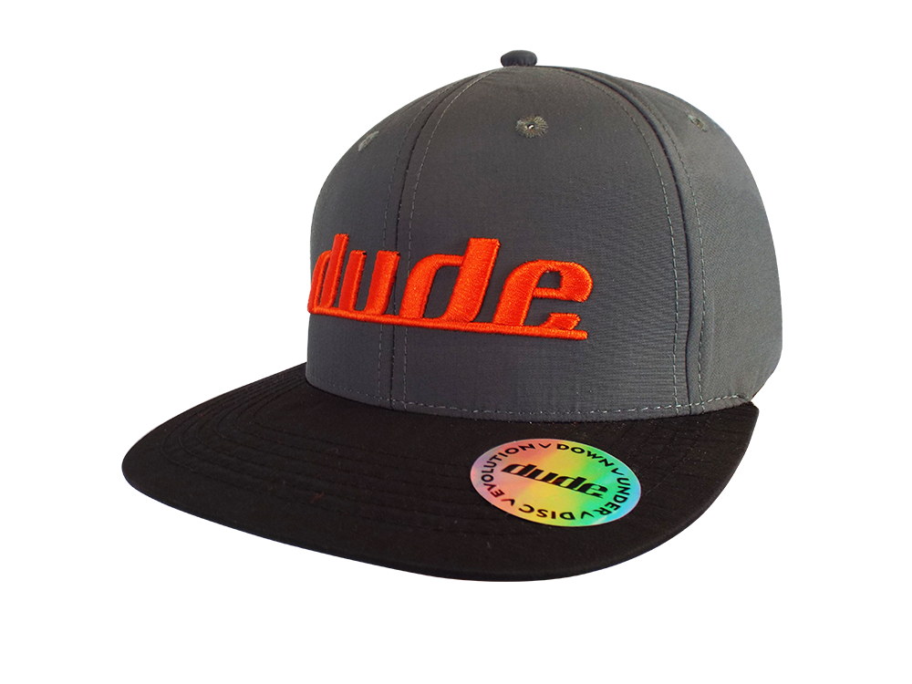 An image showing a Grey Ethan Cap with orange dude logo print