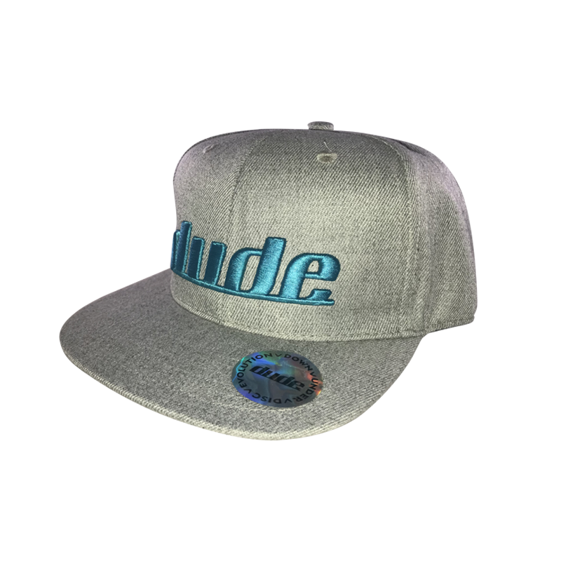 An image showing a Gray KJ Nybo flat brim hat, with signature DUDE stitching in teal color.